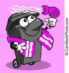 Bin & hairdryer - cartoon wheelie bin drying hair