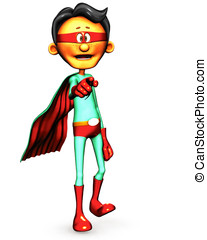 Superhero Cartoon Guy - Superhero cartoon guy dressed in red...