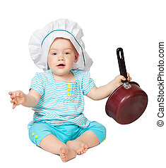 Baby cook in toque