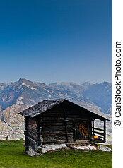A hut at Swiss Alps