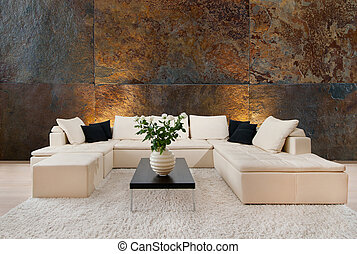 Modern interior with free wall space