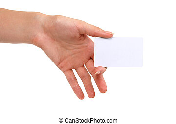 blank businesscard in woman\'s hand