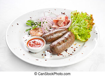 Grilled sausages.