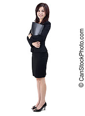 Business people - Business Women holding file standing on...
