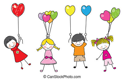 happy children playing with balloons