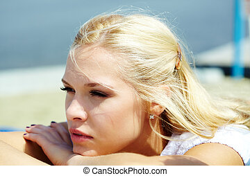 Beautiful blonde - Photo of serene blond woman spending time...