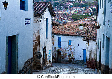 Cusco - Old narrow street in the center of Cusco Peru