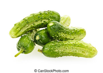 Cucumbers on white - Green fresh small cucumbers isolated on...