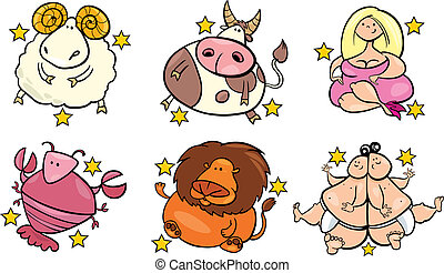 six overweight zodiac signs - illustration of six overweight...