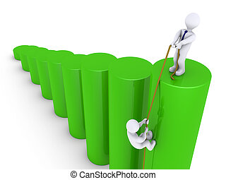 Help to climb on top of graph - 3d businessman helping...