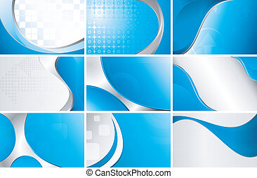 Abstract Blue Background Set