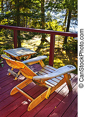 Chair on cottage deck - Wooden deck of cottage with lake...