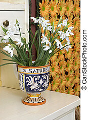Vase with flowers, country style