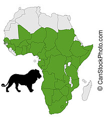 Distribution map lion
