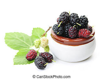 Fresh mulberries - Ripe mulberry berries in a bowl on white...