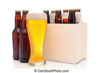 Six Pack of Beer Bottles with Glass - Six pack of beer and...