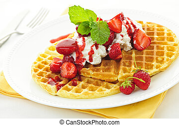 Belgian waffles - Plate of belgian waffles with fresh...