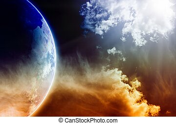 Planet Earth in space - Apocalyptic background - dark...
