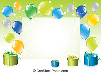 colorful festive balloons and gift boxes