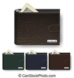 ベクトル, セット, 財布