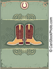 Cowboy boots.Vintage western decor background with rope and horseshoe
