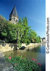 River and Temple neuf church, Metz town, Lorraine, France