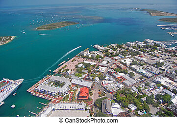 aerial view of key west - aerial view over northern key west...