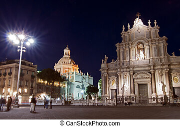Piazza del Duomo in Catania by night with cathedral