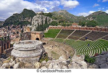 Taormina amphitheater - Taormina greek amphitheater in...