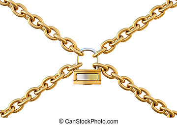 chains are joined together by a padlock isolated on white