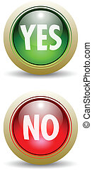 Pair of Yes and No Buttons - Pair of Glossy Yes and No - Red...