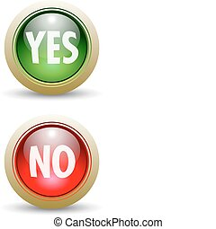 Pair of Yes and No Buttons