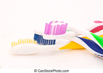 colorful toothbrushes