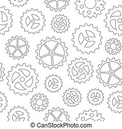 Gearwheels Seamless Backgound - Seamless pattern with many...
