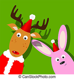 Rudolph - Vector xmas greeting card with Rudolph and bunny