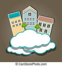 Paper composition - Vector paper composition with clouds and...