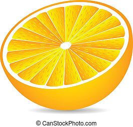 Half orange isolated on white background .