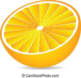 Half orange isolated on white background