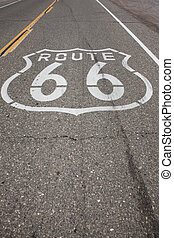 Route 66 Sign Stenciled on Highway