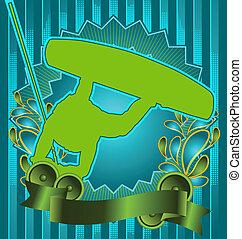 Vintage design wake boarder poster - Vintage background...