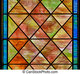 Colored stained glass panel - Stained glass window with...