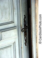 open door - old used door in retro look is opened