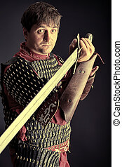 medieval knight - Portrait of a medieval male knight in...