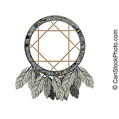 Dreamcatcher - We see illustration of a Native American...