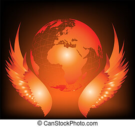 Wing with world Vector illustration - Wing with world on...