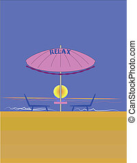 the good life - illustration of beach with umbrella and...