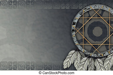 American dreamcatcher gray - We see illustration of a Native...