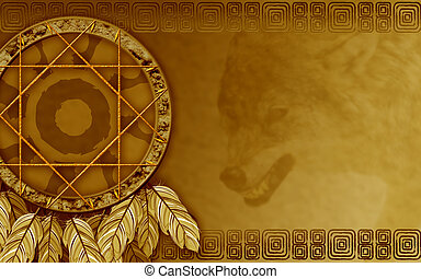 American dreamcatcher with wolf - We see illustration of a...