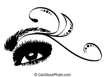 Eye Decorative Vector - Beautiful female eye with lashes,...