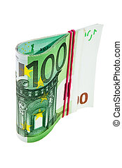 One hundred Euro banknotes isolated over white background.